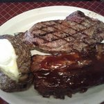 18 oz Rib eye steak and half rib combo
