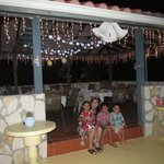 The bbq/eating area decorated for our wedding reception.