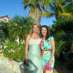 My friend and I leaving the villas for my beach wedding.  Th