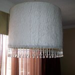 70s era lamp with fuzzy shade and plastic beads