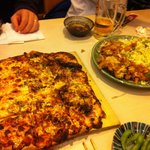 Pizza and squid dishes