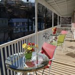 Spacious deck with colorful decor
