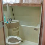 Bathroom's kinda small but usable. Low ceilings
