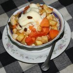 Our favourite - fruit salad and ice cream