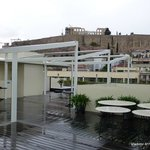 View of the Parthenon from the roof top patio of the hotel