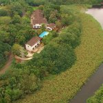Aerial view of Dieu-Donnee River Lodge