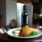 fish and chips and a bottle of red