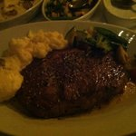 Rib Eye Steak with mash and roasted veg.