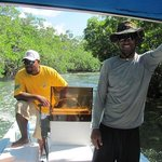 Winfred and Jamaal on our trip through the canal during Bacalar trip.