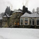 The hotel in heavy snowfall