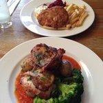 Piri piri chicken special; fishcake opposite!