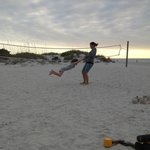 Playing on Cay Pointe's beach area