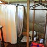 Safari shower & flushing toilet