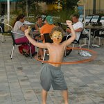 Hula Hooping at the pool
