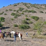 Horseback riders, bicyclists and hikers share trail