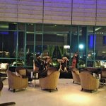 The string quartet playing at the lobby bar