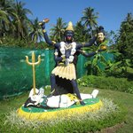 the Kali statue in the garden