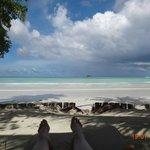 On the beach chair