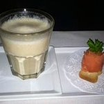 Cream of Cauliflower Soup and smoked salmon