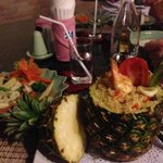pineapple rice vegetables and seafood