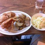Southern Fried Chicken entree with Pan Fried Potatoes & Onions, and Cole Slaw