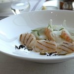 Appetizer - seared scallops and tiger prawns