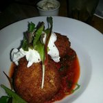 Smoked Haddock & Brie Fishcake with a Poached Egg and Tomato Salsa