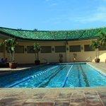 Co-ed outdoor pool and hot-tub area at Anara spa.