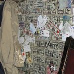 Walls are covered with money from all over the world