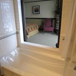Queen suite with sliding bathroom doors
