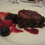 Mayan Chocolate Cake with fresh berries