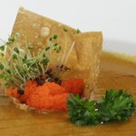 Truffle PIgs Food:  Caviar wonton raft in soup