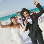 Celebrating Just Married on Sky Beach