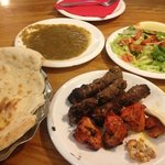 Me Having: Chicken Tikka, Sheesh Kebabs, Special Salad, Tandoori Nan, Chutney