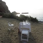Somebody had a romantic dinner by the beach last night.