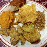 Southern Fried Heaven--stuffed crab, Trace Creek Potatoes, fried green tomatoes, catfish, and ch