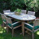 Enjoy breakfast en plein air in our garden