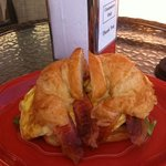 Huge croissant breakfast sandwich. Delicious!