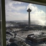 You can see the famous Skylon Tower Niagara Fall - and to the right the mist o