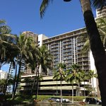 View of Aqua Palms from across the street where Hilton Hawaii Village is.