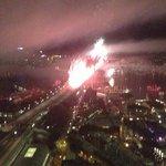 View of bridge fireworks