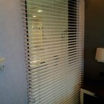 Blinds overlooking the bathroom inside