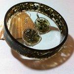 Crushed Glass Bangle & Earrings