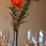 Flowers adorn a dining table