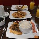 Rice and fish, pancake too