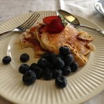 Ricotta pancakes with honeycomb butter - delicious.