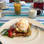 Freshly squeezed juice, with corn fritters and soft poached egg