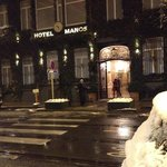 First snow in front of the Manos Premier Hotel