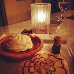 A third course, dessert option. Homemade pumpkin tart.