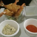 Prawns in filo, with tartare, and sweet chilli, sauses